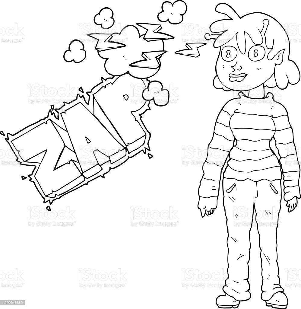 Noir Et Blanc Dessin Décontracté Alien Fille Avec Télépathie