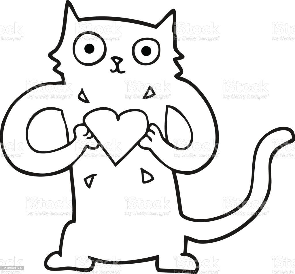 Coloriage Coeur Et Chat.Noir Et Blanc Chat En Dessin Anime Avec Amour Coeur Vecteurs Libres