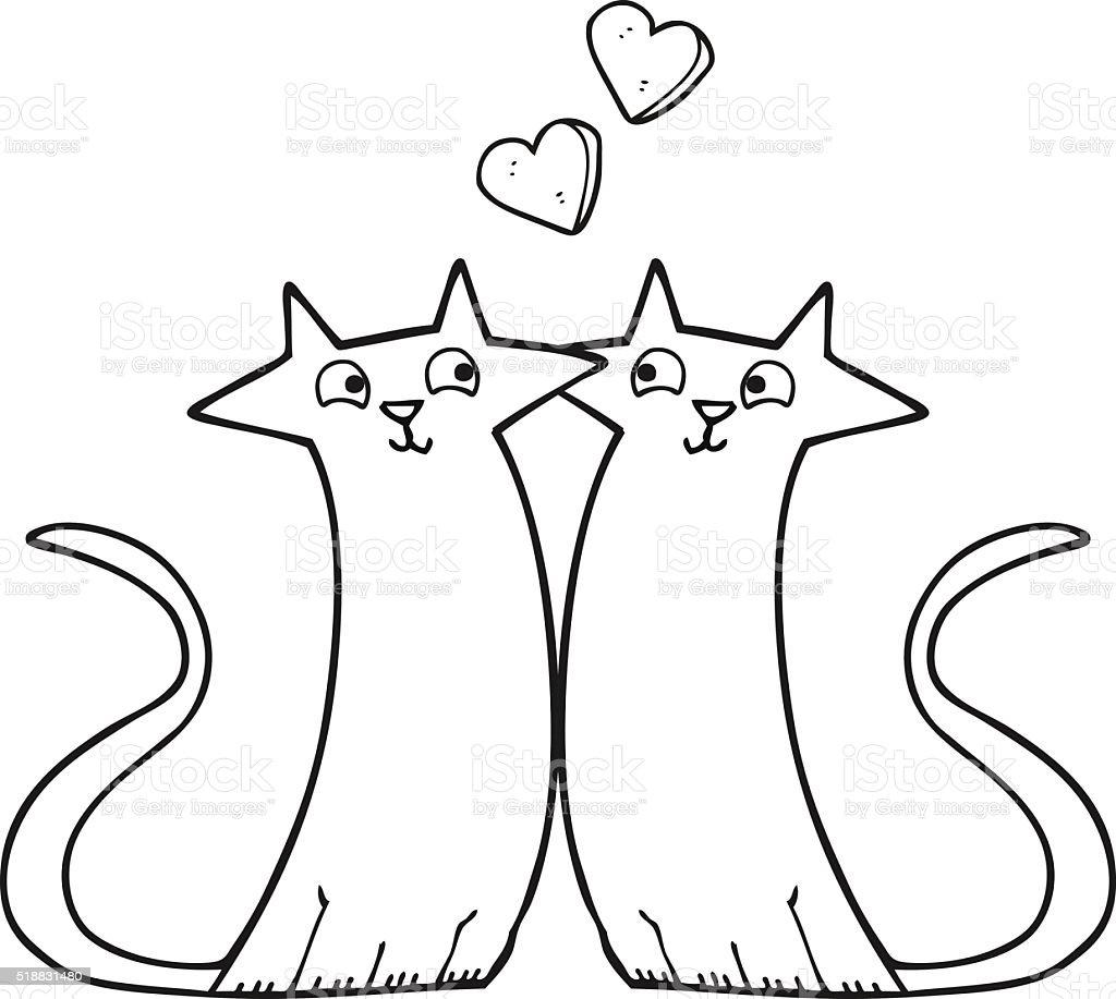 Blanco Y Negro De Dibujos Animados Gatos En El Amor - Arte vectorial ...