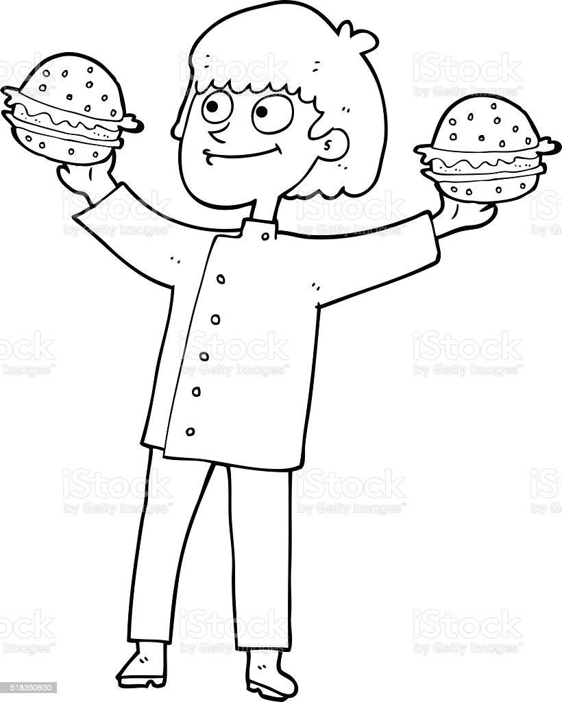 白黒カットイラストシェフハンバーガー - いたずら書きのベクターアート