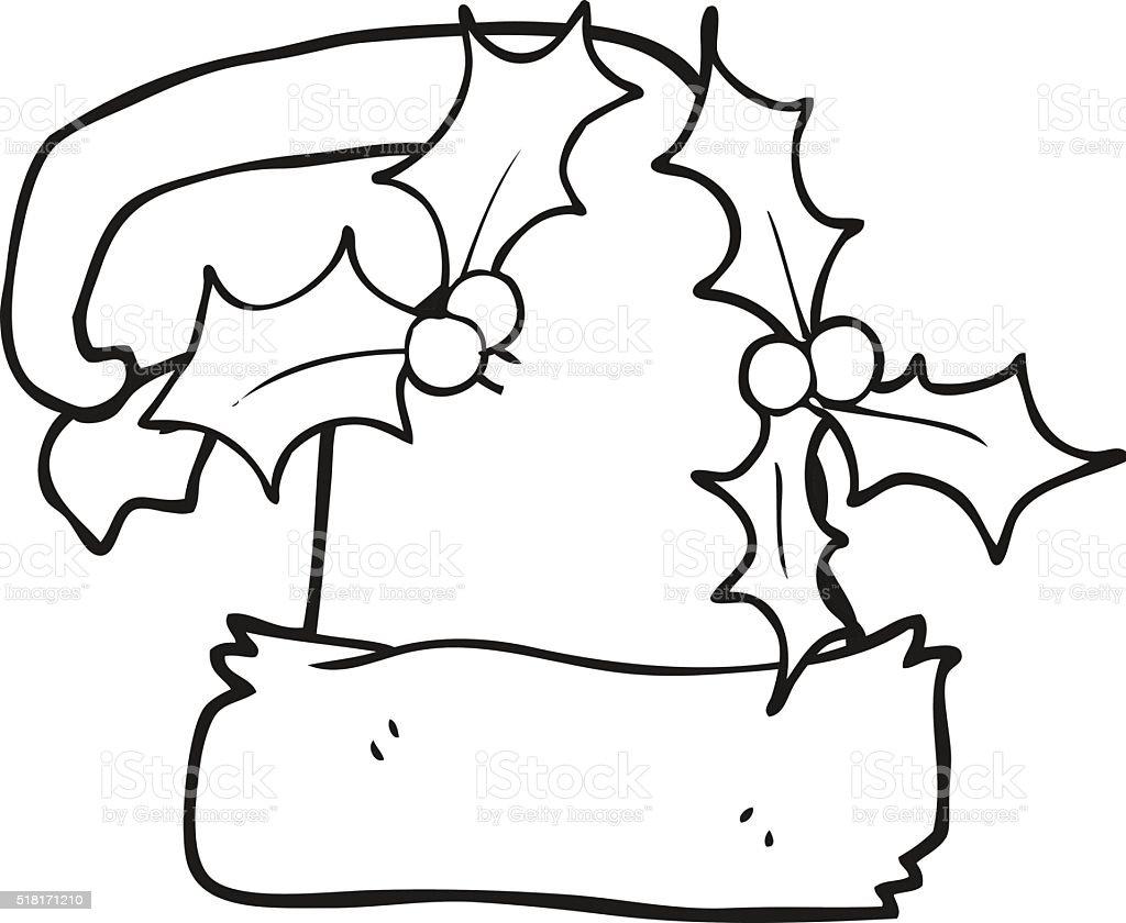 Noir et blanc dessin anim de houx de no l bonnet - Dessin de bonnet ...