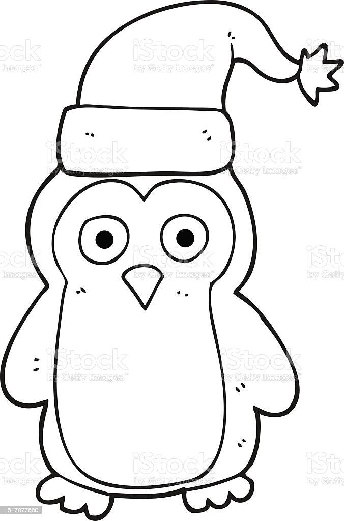 Ilustración de Blanco Y Negro De Historieta Pingüino De Navidad y ...