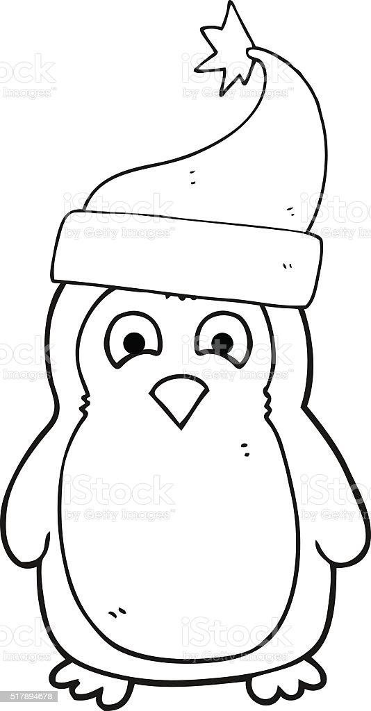 Noir Et Blanc Dessin Anime Portant Chapeau Du Pere Noel Robin Vecteurs Libres De Droits Et Plus D Images Vectorielles De Bizarre Istock