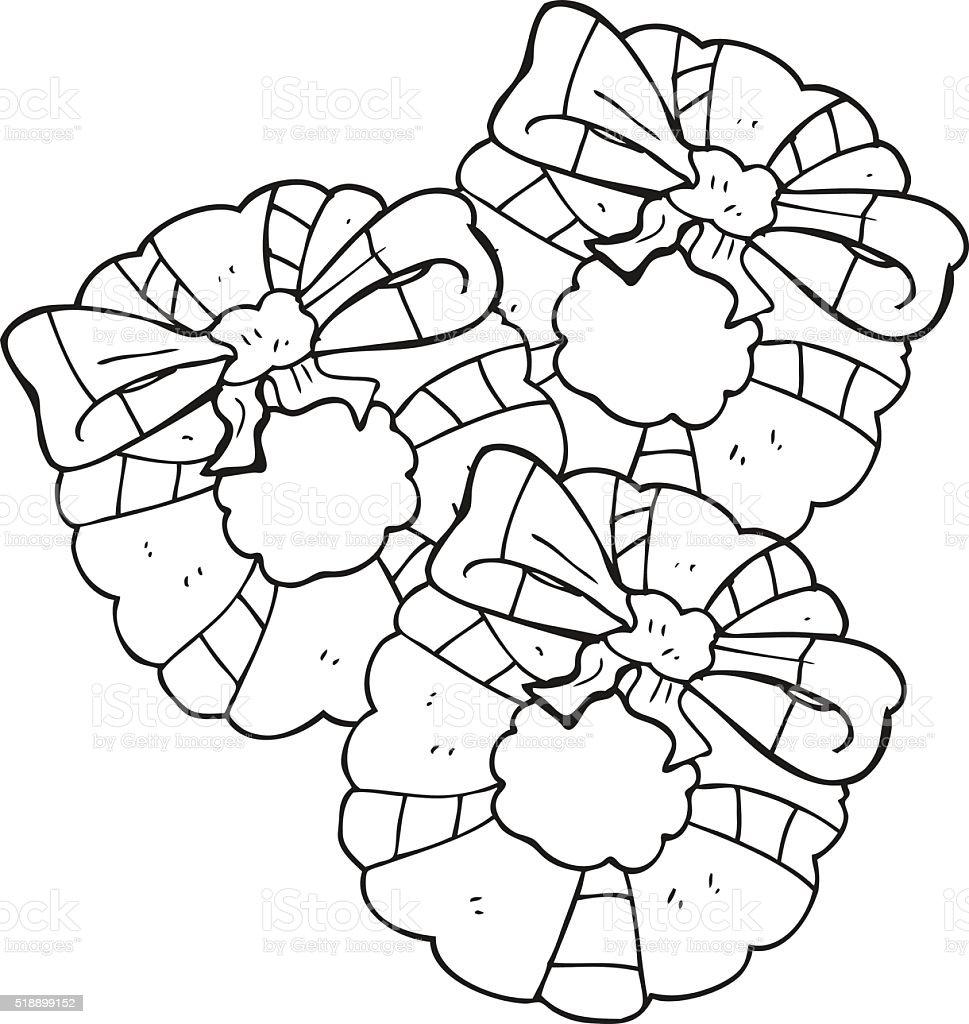 Vetores De Preto E Branco Desenho Coroas De Flores De Natal E Mais