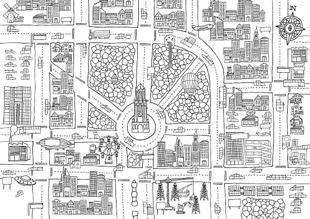 白黒の漫画街の大人のカラーリング - 都市 モノクロ点のイラスト素材/クリップアート素材/マンガ素材/アイコン素材