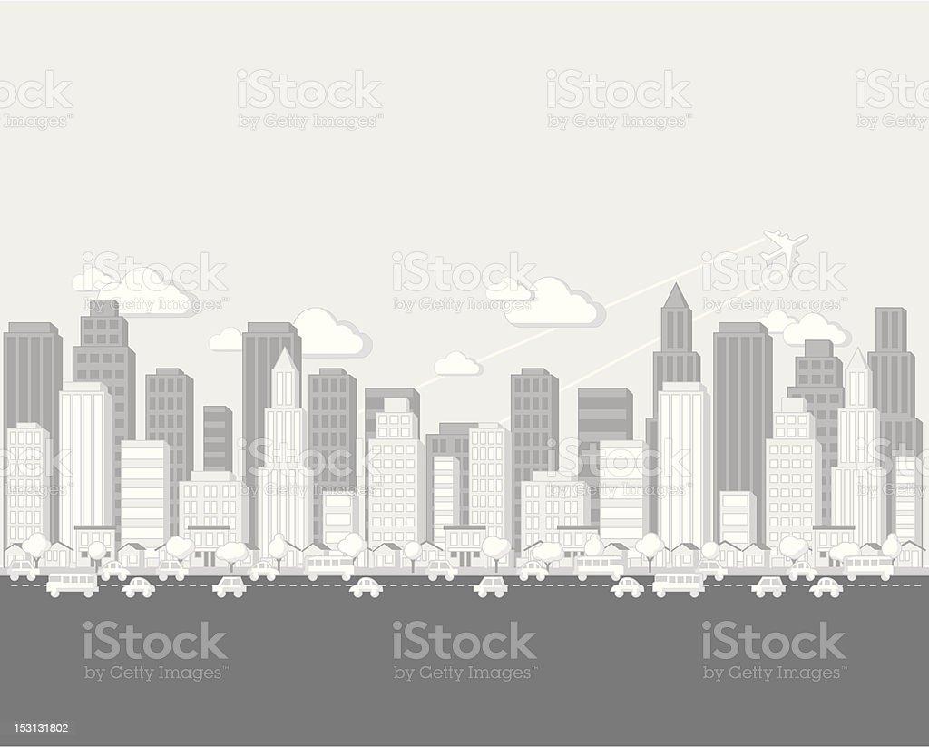 Noir Et Blanc Dessin Paysage De La Ville Vecteurs Libres De