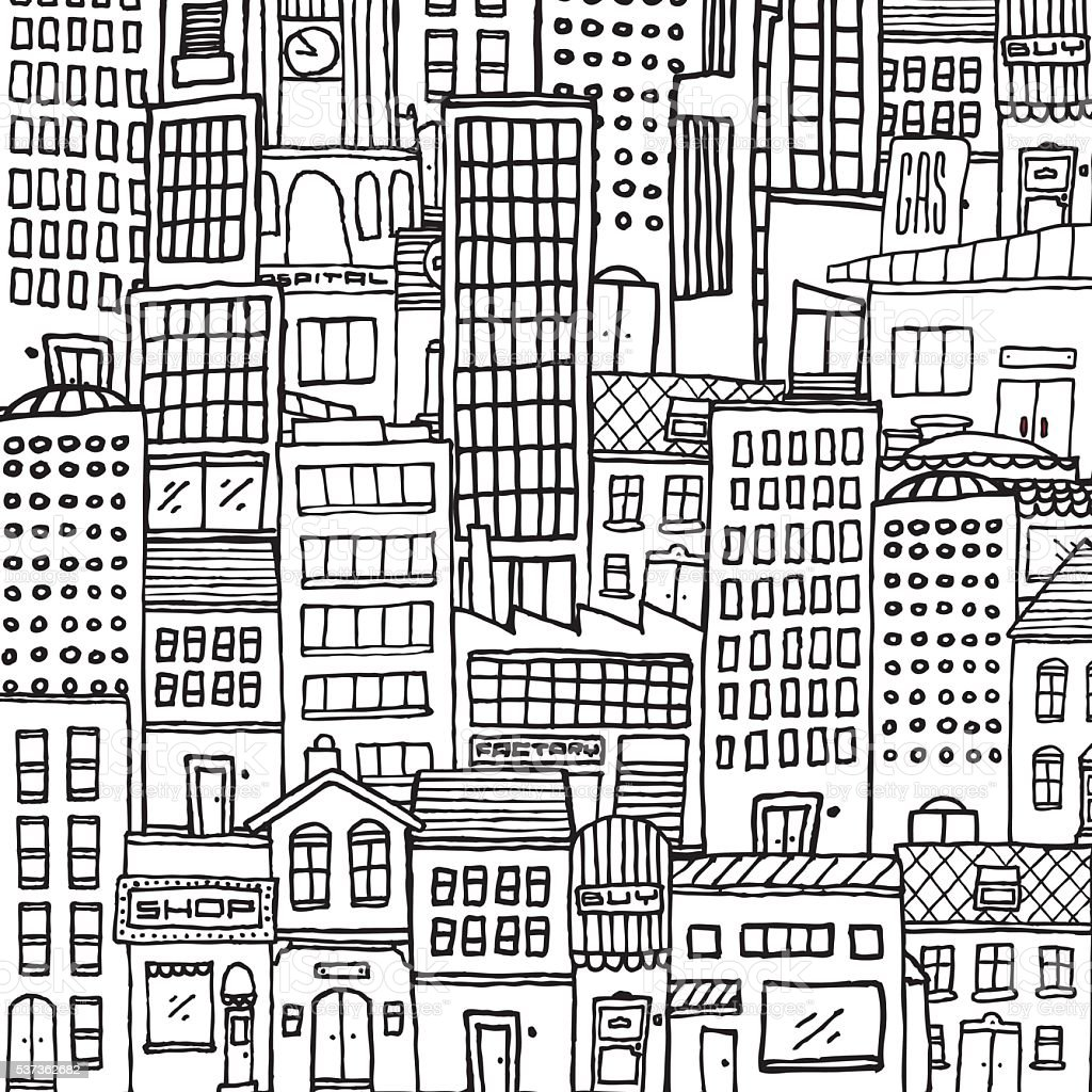 Black and white cartoon city texture for adult coloring vector art illustration