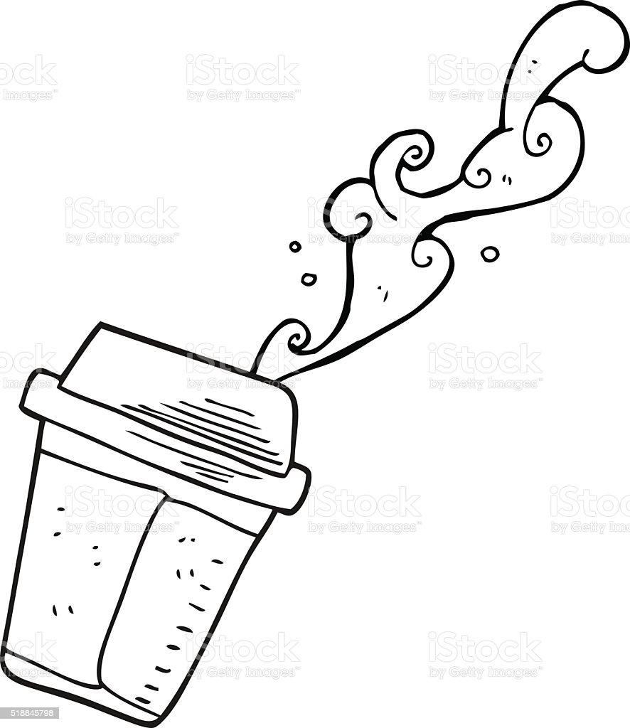 Blanco Y Negro De Dibujos Animados Derramando Café - Arte vectorial ...