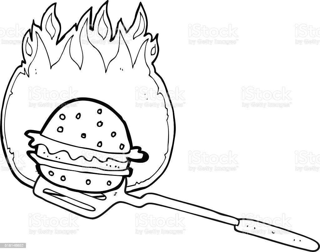 Black And White Cartoon Cooking Burger Stock Illustration Download Image Now Istock