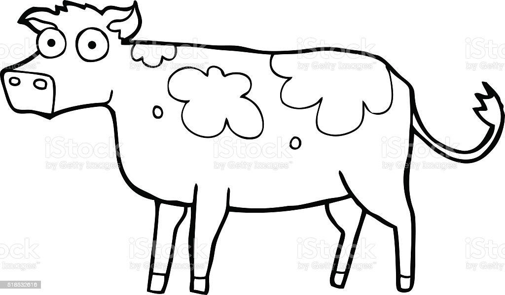 Black And White Cartoon Cow Stok Vektör Sanatı Boyama Kitabınin