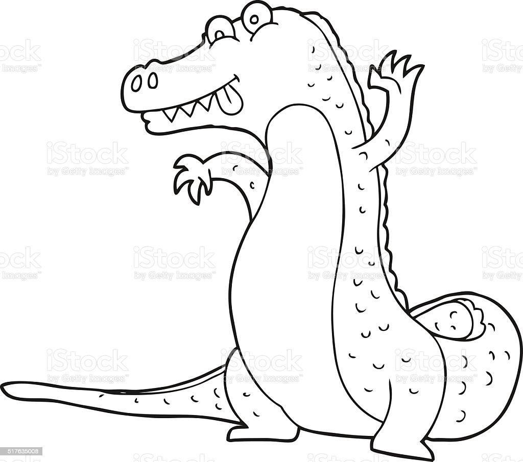 Black And White Cartoon Crocodile Stock Vector Art  for Clipart Crocodile Black And White  192sfw