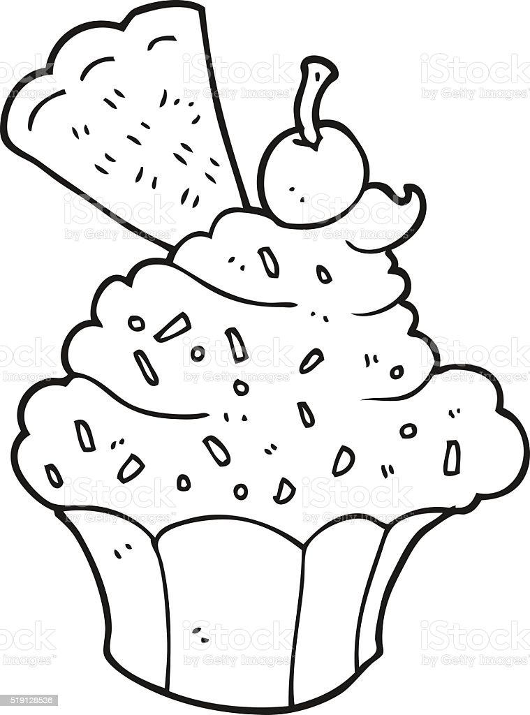 Cupcake De Dessin Animé Noir Et Blanc Vecteurs Libres De