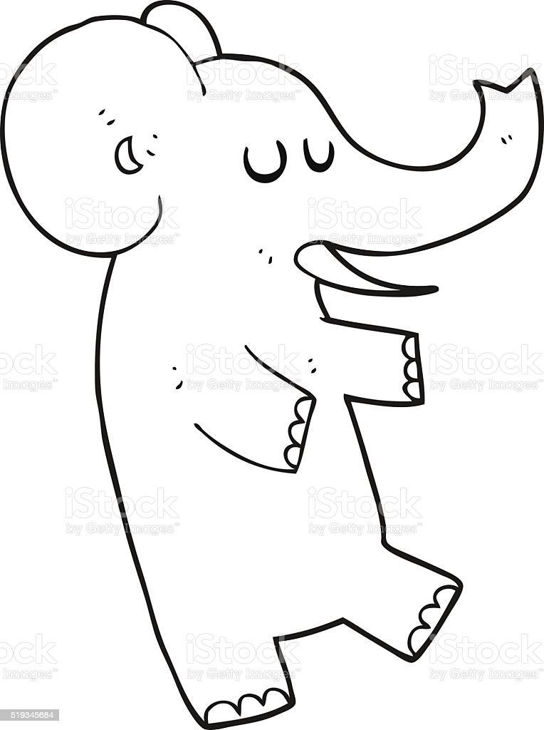 Black And White Cartoon Dancing Elephant Stock Vector Art More
