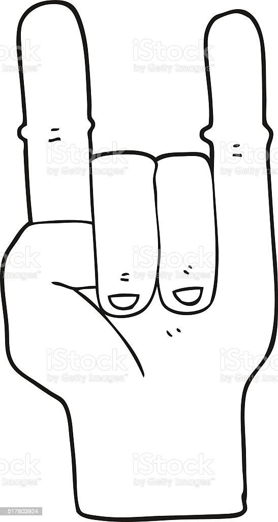 Black And White Cartoon Devil Horns Hand Symbol Stock Vector Art