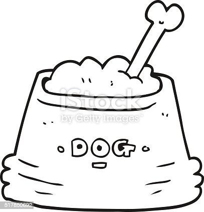 Schwarz Und Weiß Cartoon Hund Schüssel Vektor Illustration ...