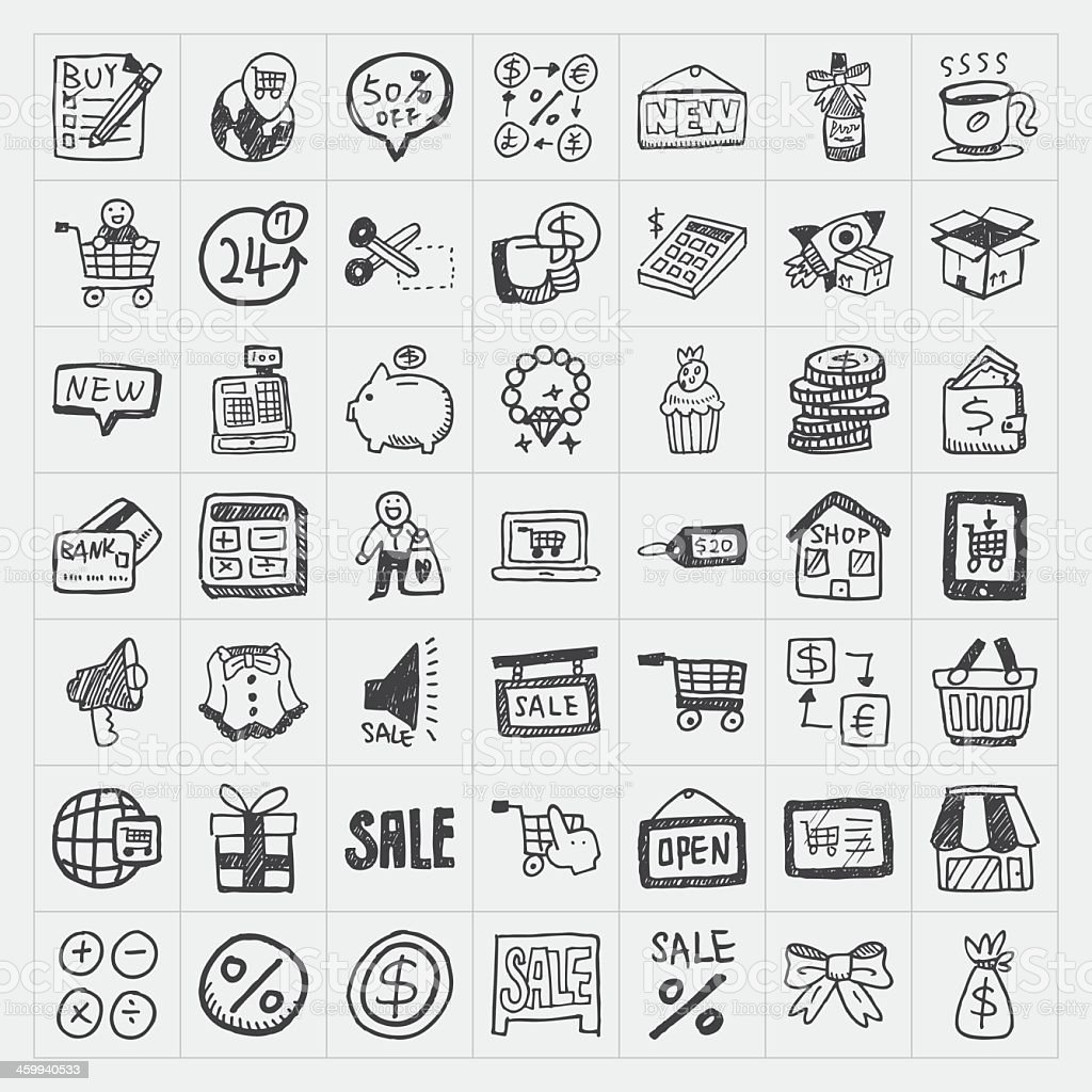 49 Black And White Cartoon Doodle Shopping Icons Stock