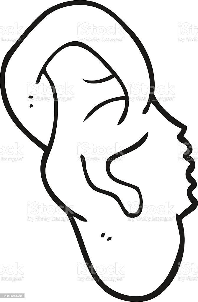 Vetores De Preto E Branco Desenho De Ouvido E Mais Imagens De Clip