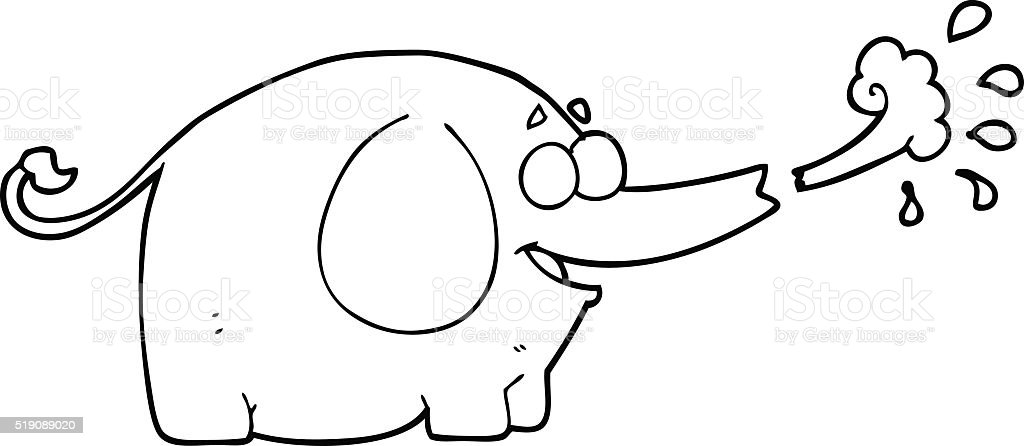 Coloring Pages | Baby Elephant Playing with water | 446x1024