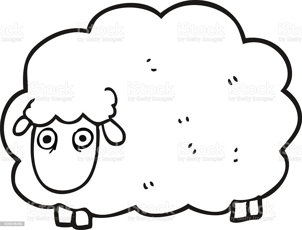Black And White Cartoon Farting Sheep Stok Vektör Sanatı Boyama