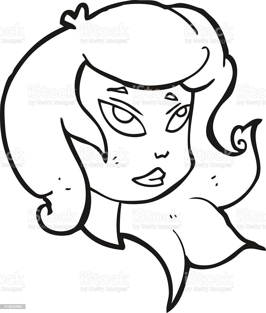 Noir Et Blanc Visage De Femme En Dessin Animé Cliparts Vectoriels