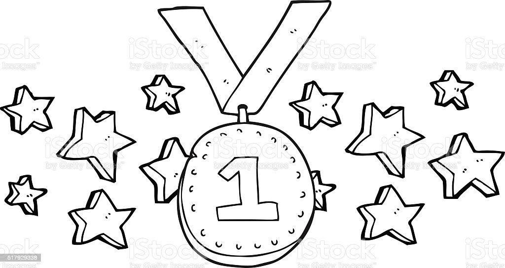 black and white cartoon first place medal vector art illustration