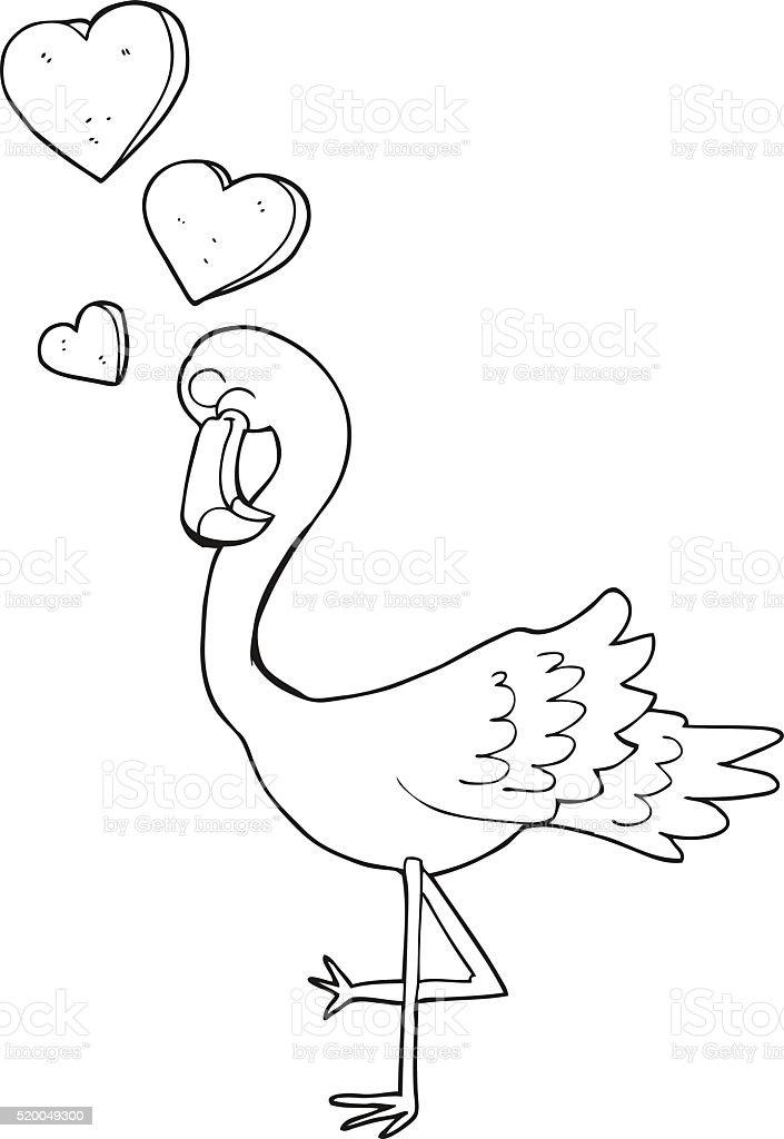 Noir Et Blanc Dessin Anime En Amour Flamant Rose Cliparts