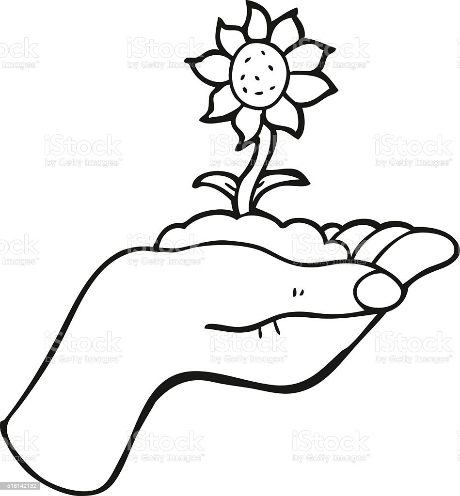 Black And White Cartoon Flower Growing In Palm Of Hand Stock Vector