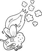 black and white cartoon fly crashing and burning