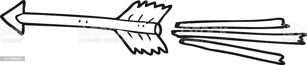 Schwarz Und Weiß Cartoon Fliegen Pfeil Stock Vektor Art ...