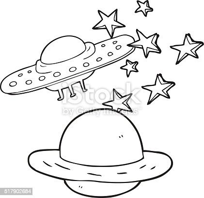 flying saucer coloring page - black and white cartoon flying saucer and planet stock