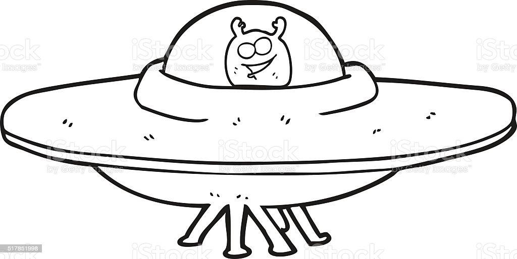 Black And White Cartoon Flying Saucer Stock Vector Art