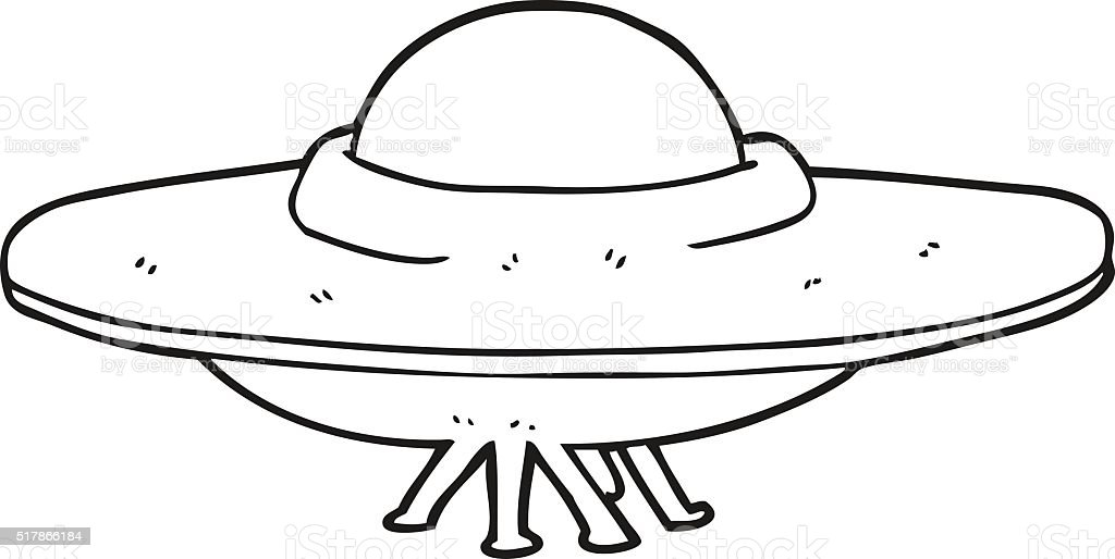 Black and white cartoon flying saucer stock vector art for Flying saucer coloring page