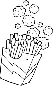 black and white cartoon french fries