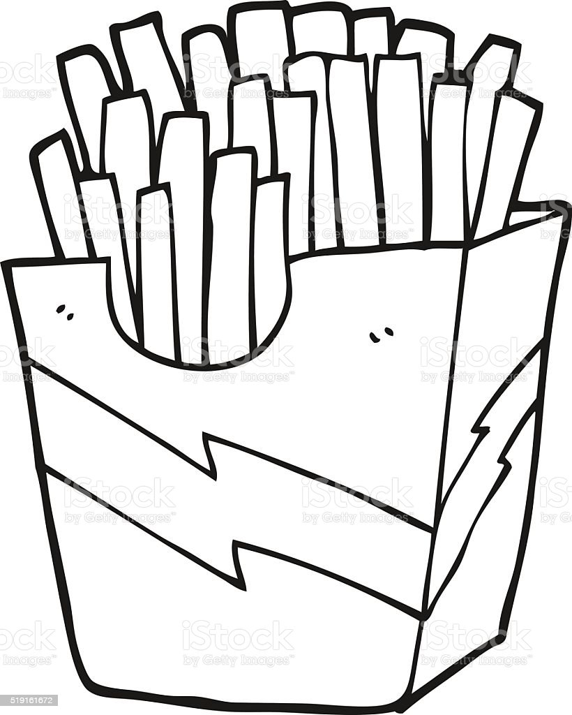black and white cartoon french fries vector art illustration