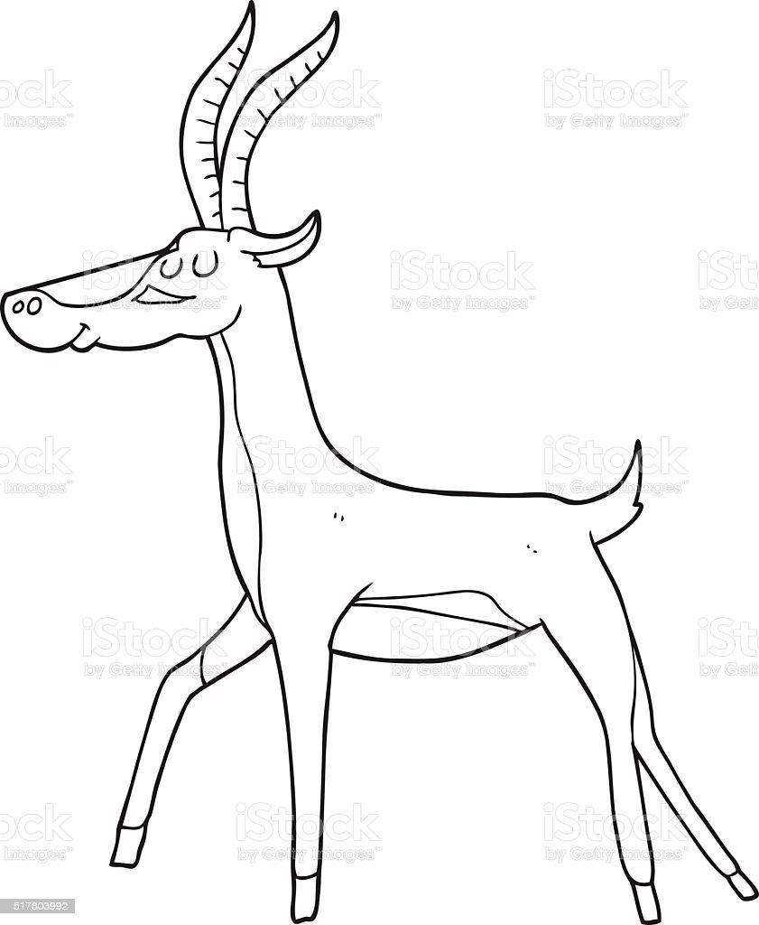 Black and white cartoon gazelle stock vector art more images of bizarre 517803992 istock - Gazelle dessin ...