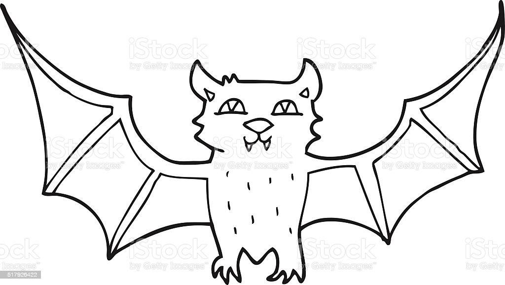 Schwarz Und Weiß Cartoon Halloween Fledermaus Stock Vektor Art und ...