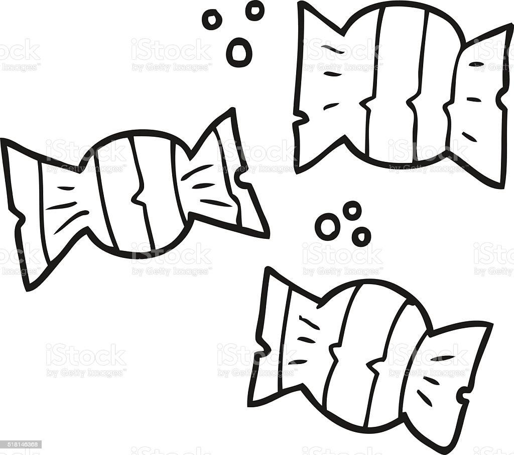 Ilustración de Blanco Y Negro De Dibujos Animados Halloween Dulces y ...