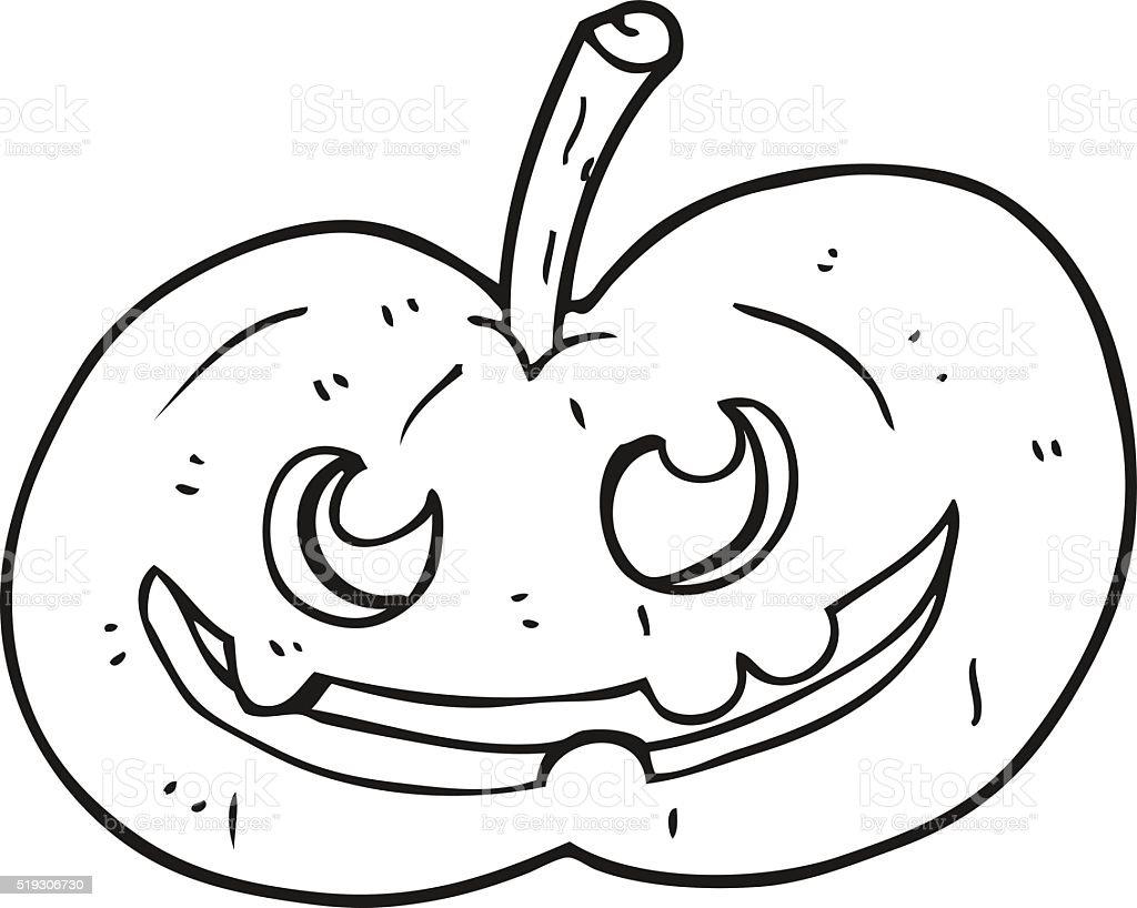 Black And White Cartoon Halloween Pumpkin Stok Vektör Sanatı