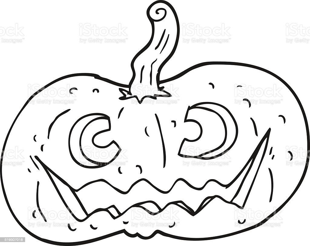 Black And White Cartoon Halloween Pumpkin Stockvectorkunst En Meer