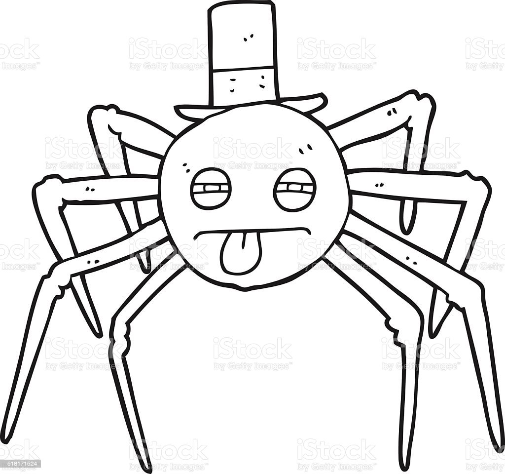Ilustración de Blanco Y Negro De Dibujos Animados Halloween Araña En ...