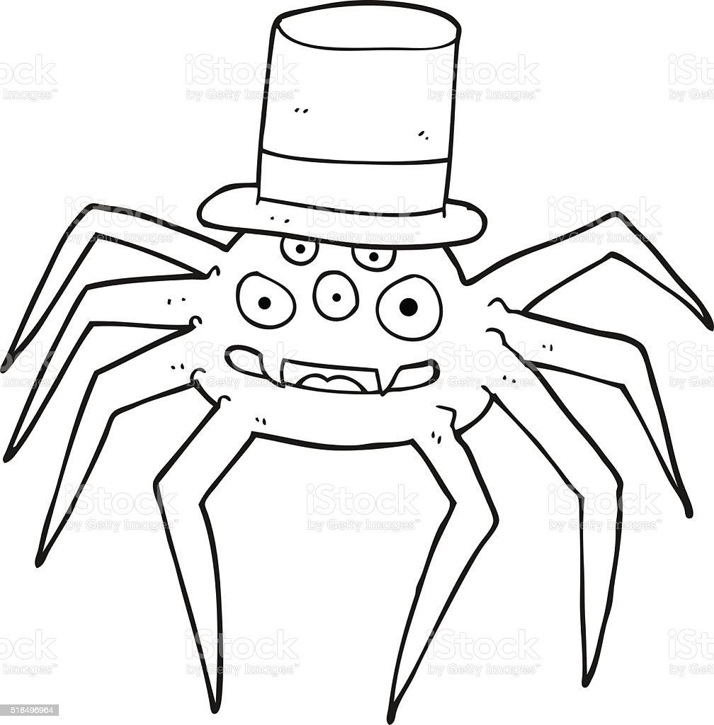 Ilustración de Blanco Y Negro De Dibujos Animados Halloween Araña y ...