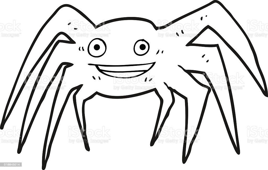 Black And White Cartoon Happy Spider Stok Vektor Sanati Boyama