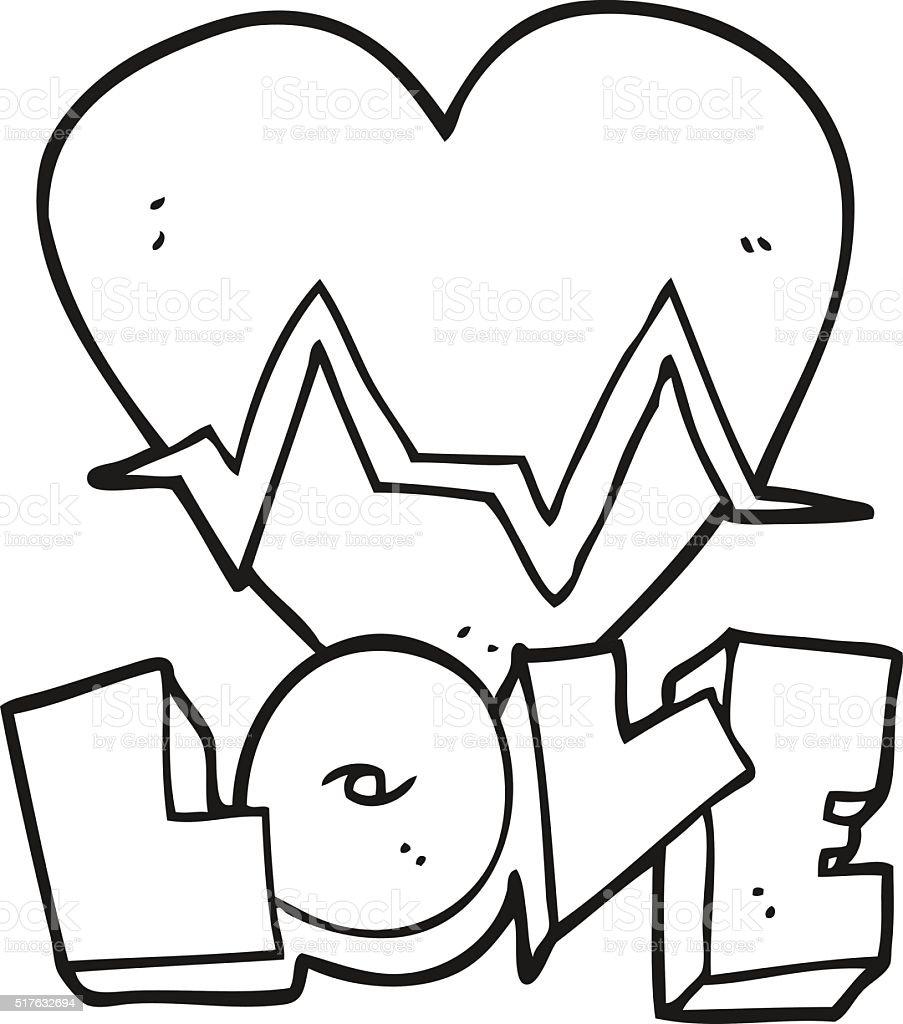 Noir Et Blanc Dessin Animé Rythme Cardiaque Symbole De