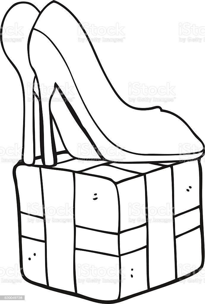 Bianco E Nero Fumetto Tacco Alto Scarpe Regalo Immagini Vettoriali