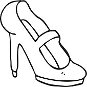 Bianco E Nero Fumetto Scarpe Con Tacco Alto Immagini Vettoriali