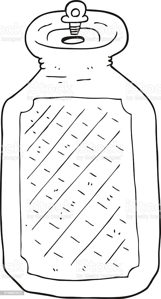 black and white cartoon hot water bottle stock vector art