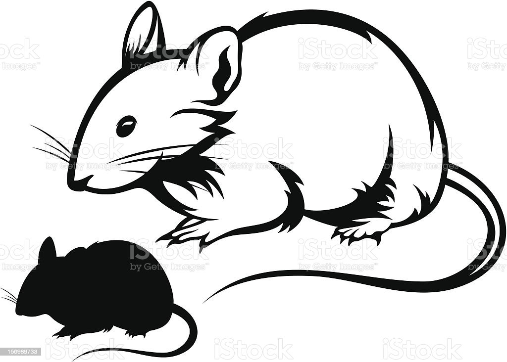 Black And White Cartoon Images Of Two Mice Stock ...