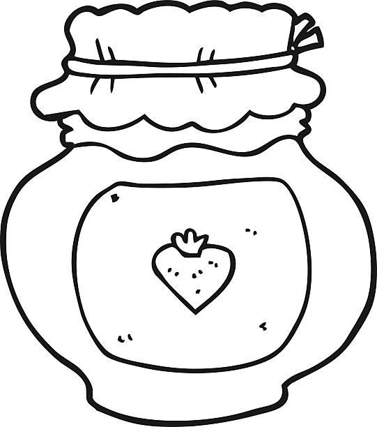 black and white cartoon jam jar vector art illustration