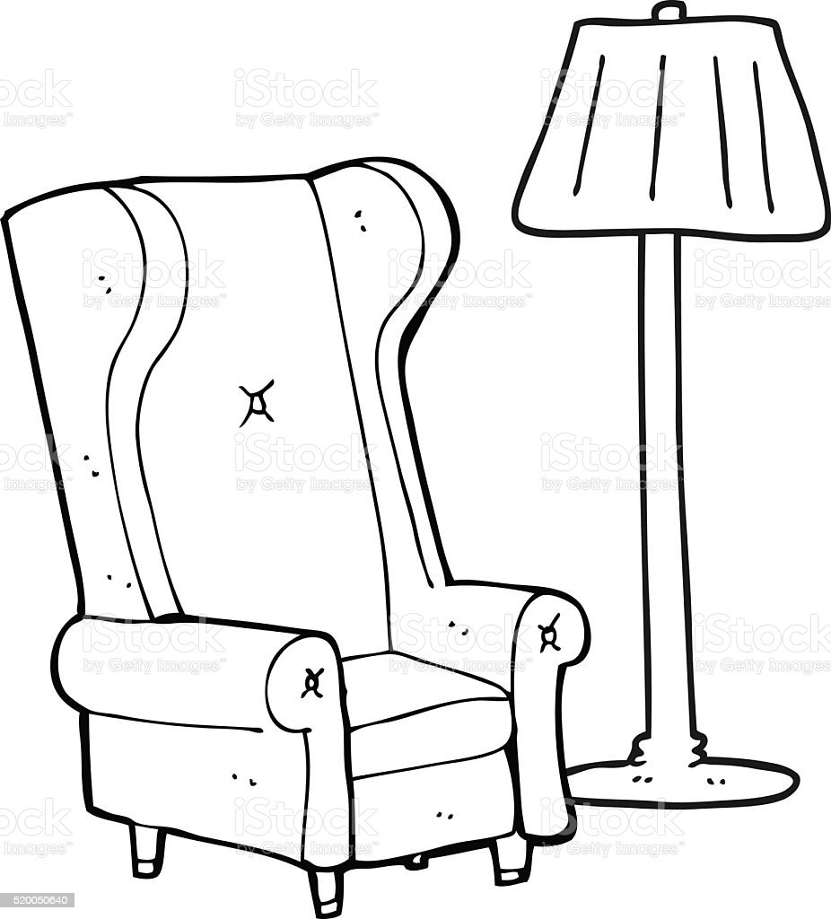Black And White Cartoon Lamp And Old Chair Stock Vector Art  for Clipart Lamp Black And White  303mzq