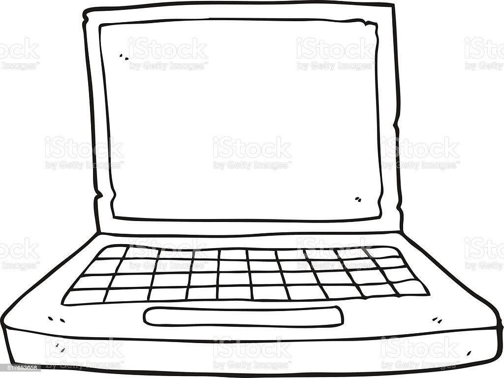 Black And White Cartoon Laptop Computer Stok Vektör Sanatı